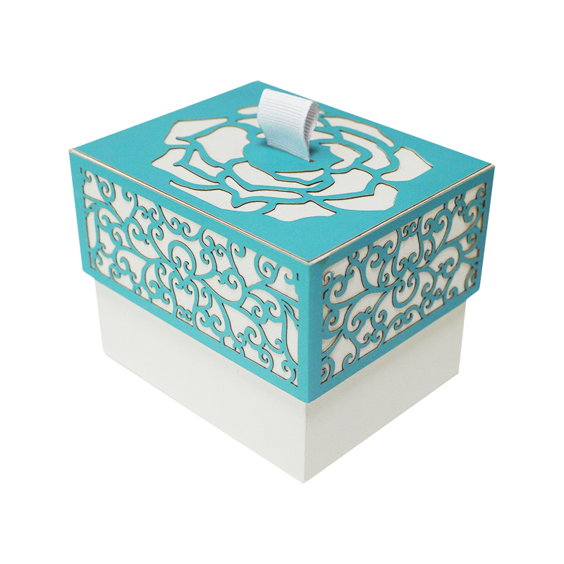laser cut box with lid blue