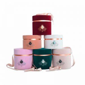 Round Shaped Flocking Velvet Perfume Boxes
