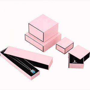 Pink Rigid Cardboard Jewelry Box With Insert