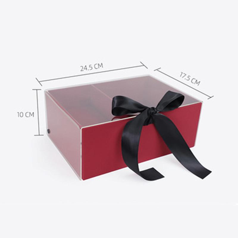 Transparent Flip Flower Gift Box With Ribbon Closure