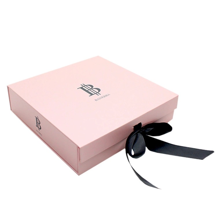 Pink Foldable Gift Box With Ribbon